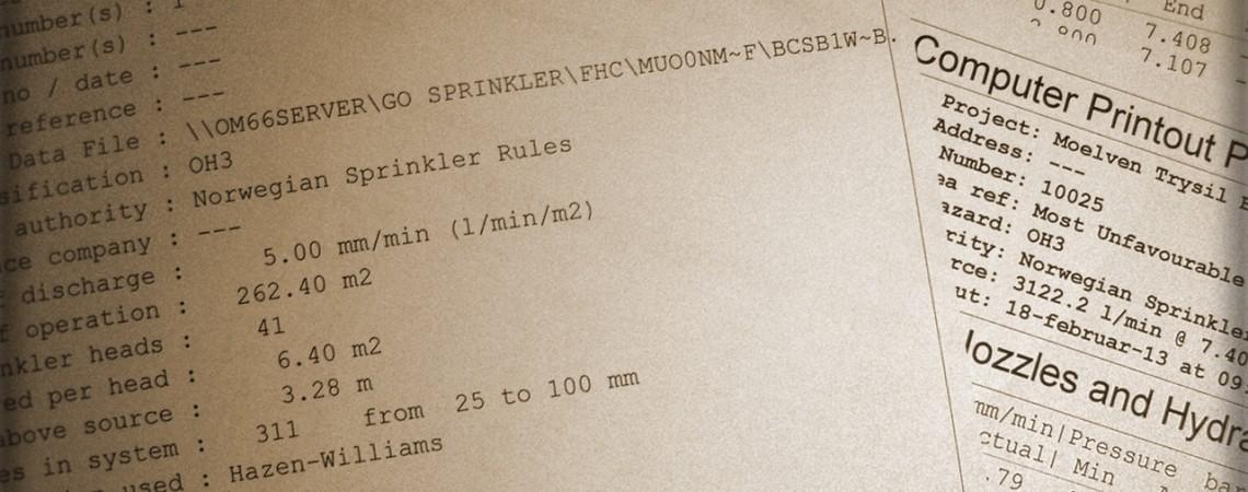 Dokumentasjon av sprinkleranlegg